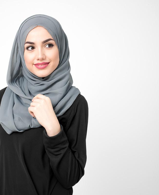 Monument Grey Pinless PolyChiffon Hijab