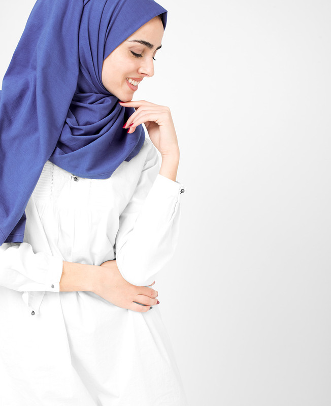 Classic Blue Cotton Jersey Hijab