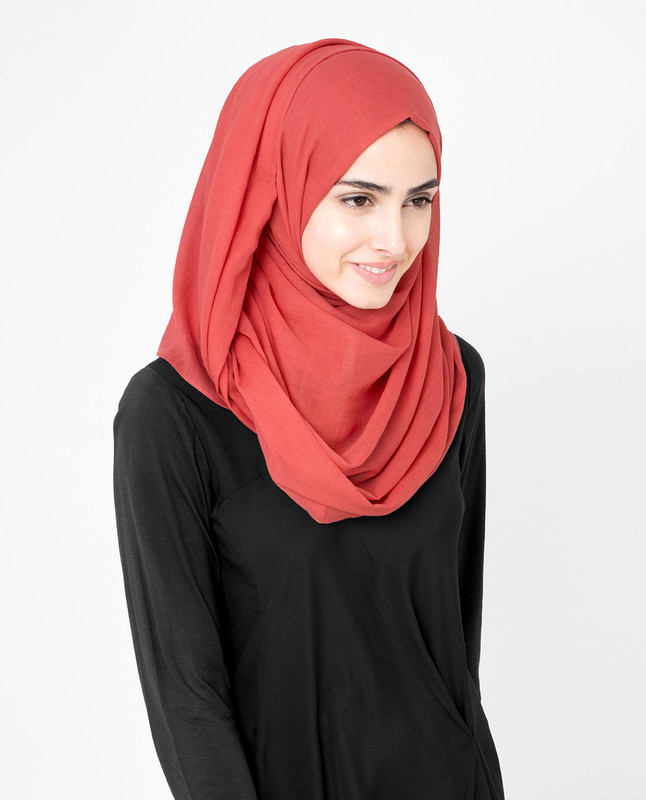 Flame Scarlet Red Cotton Voile Hijab