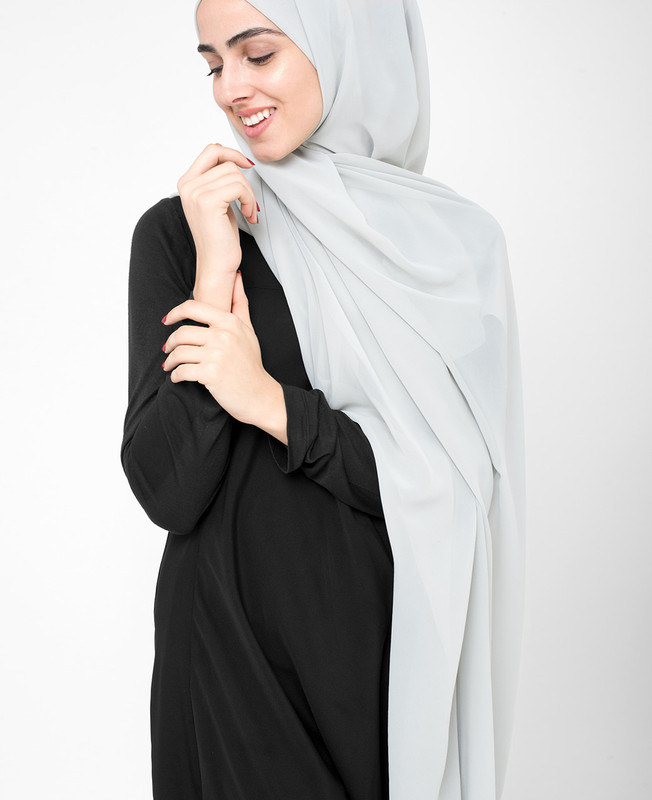 Glacier Grey Poly Georgette Hijab