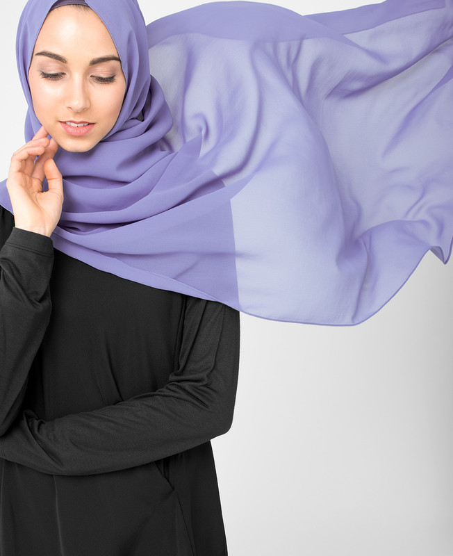 Tempest Purple Pinless Poly Georgette Hijab