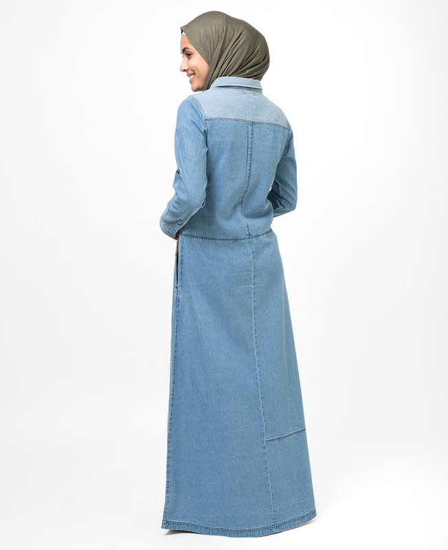 Blue Polo Denim Jilbab