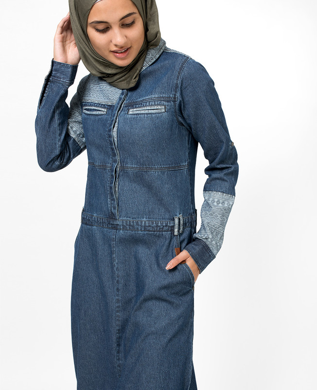 Polo Denim Tribal Print Jilbab