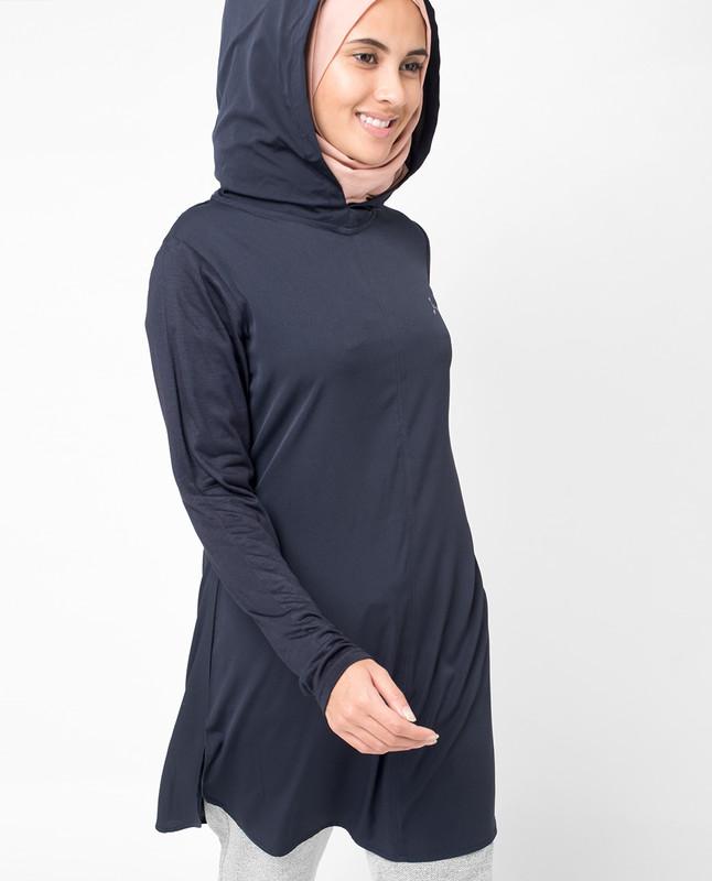 Navy Hooded Tunic Midi