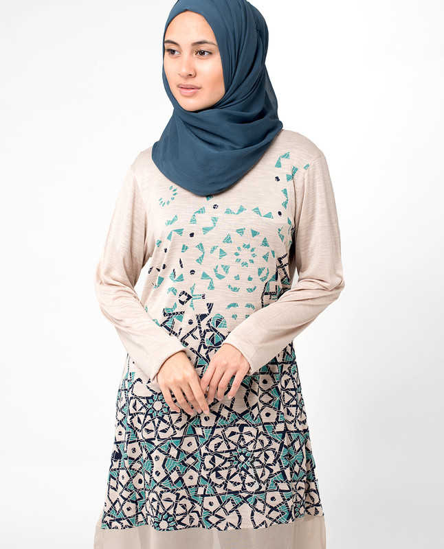 Blue Scatter Print Top