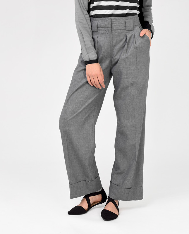 Grey classic fit trousers