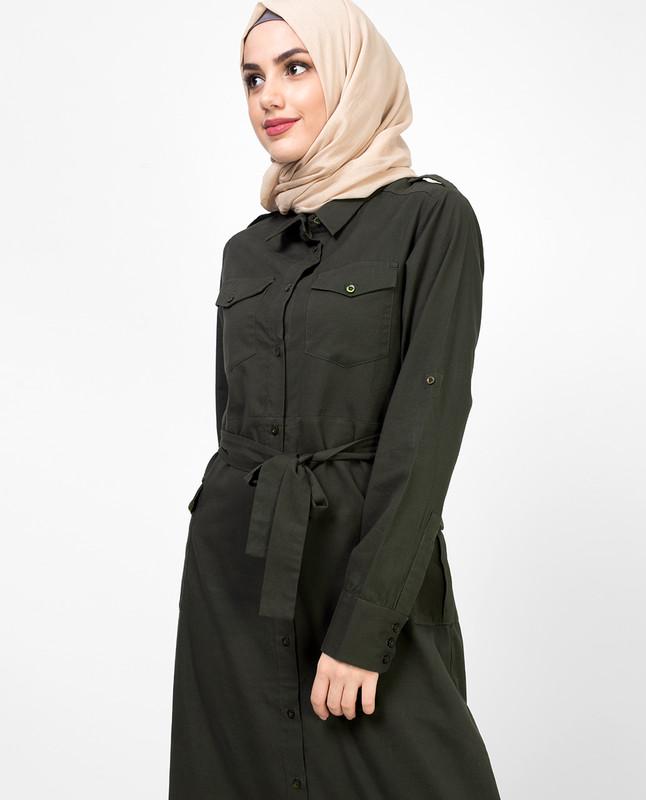 Long Dress Green Belted Jilbab