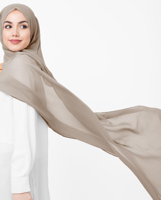 Opal Gray Poly Georgette Hijab