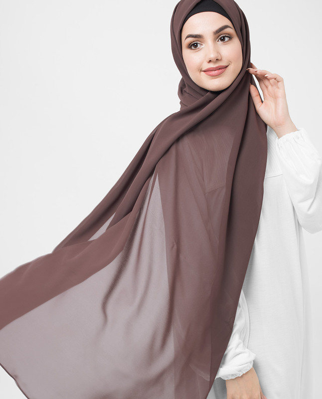 Deep Taupe Poly Georgette Hijab