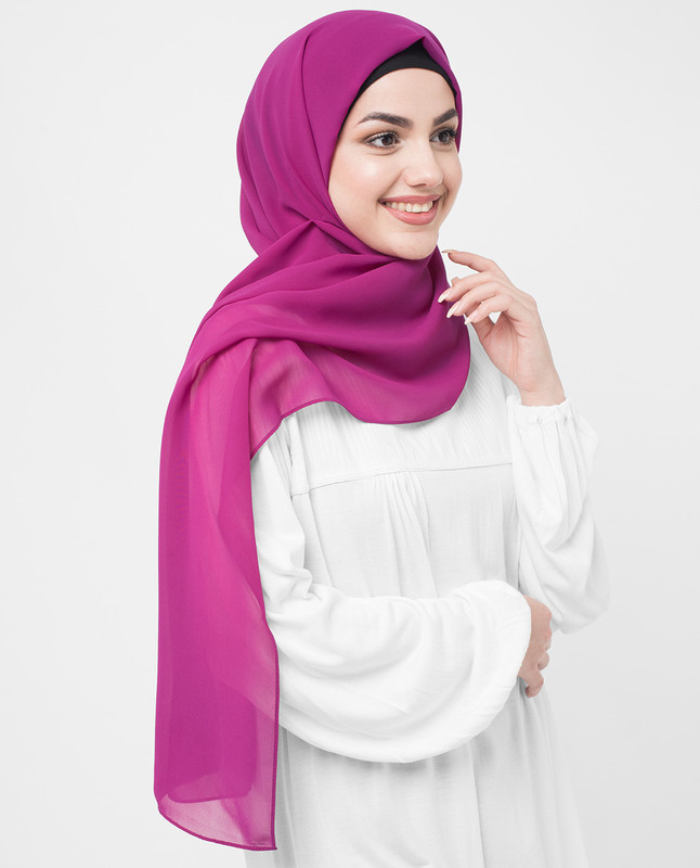 Raspberry Radiance Poly Georgette Hijab