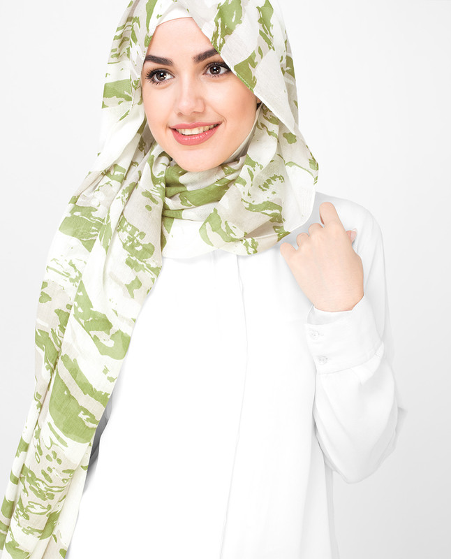 Olive and White Printed Viscose Hijab
