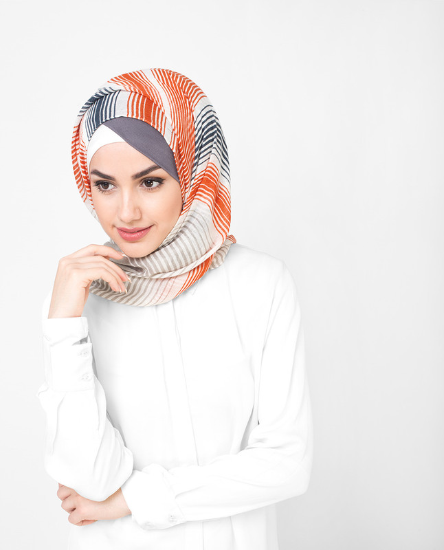 Multi Shaded Beige Bold Viscose hijab