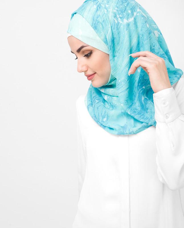 Blue Aqua Print Viscose Hijab