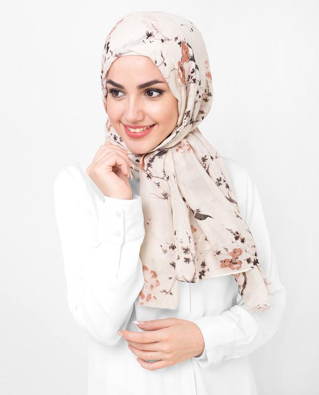 Floral Brown Viscose Printed Hijab