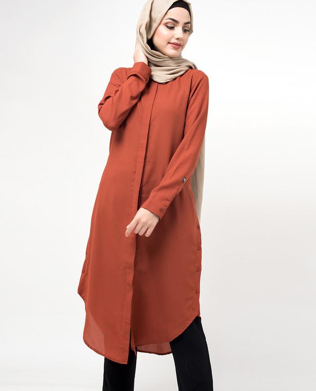 Orange Loose Fit Button Up Side Slits Shirt Dress