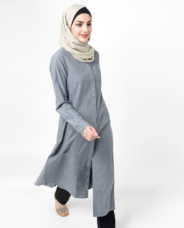 Cool Cotton Chambray Point Collar Side slit shirt dress