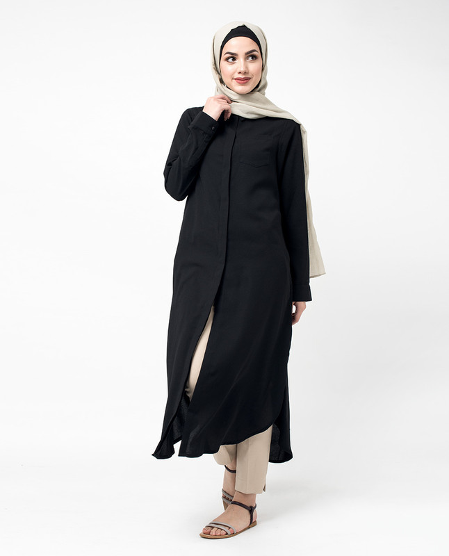 Black Loose Fit Button A Line Side Slit Shirt Dress