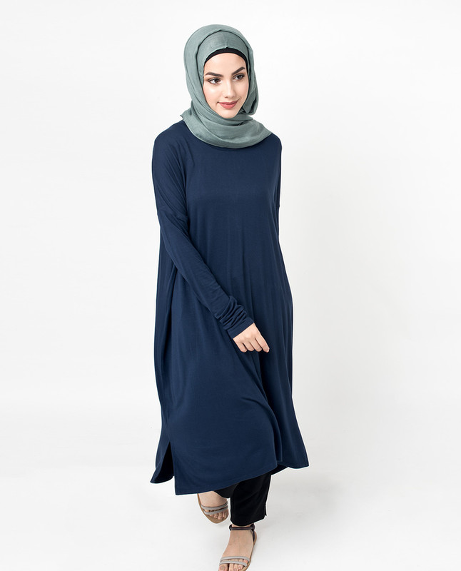 Loose oversized blue cotton t-shirt dress