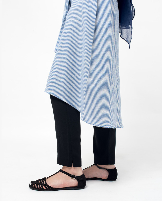 Blue Pinstripe Pocket Belted Shirt Dress