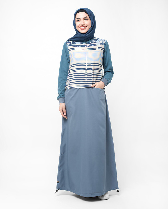 Black and Grey Floral Stripe Zip Down Jilbab
