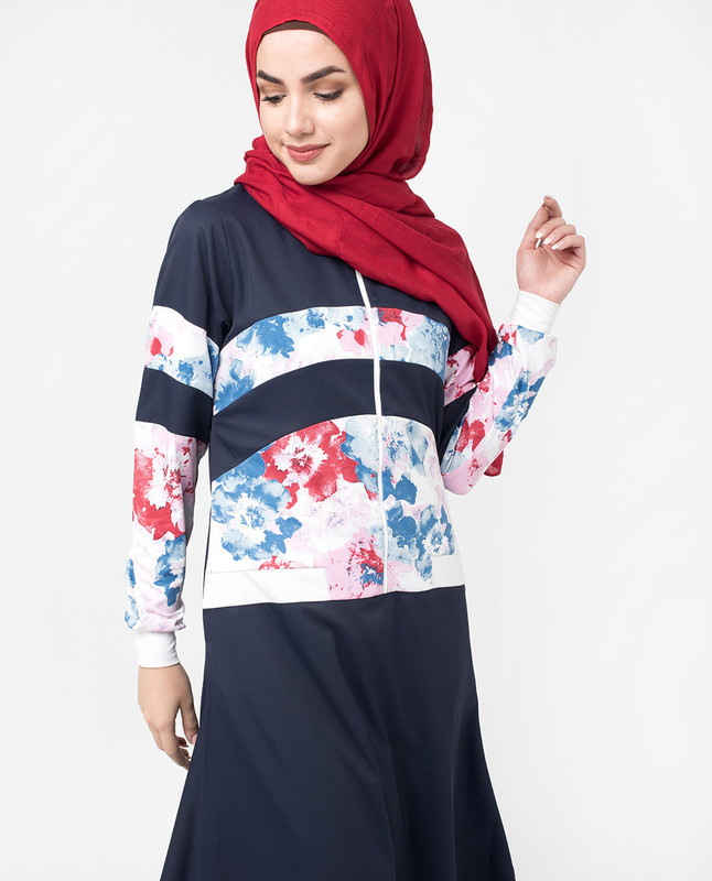 Blue Floral Zip Down Flared Jilbab