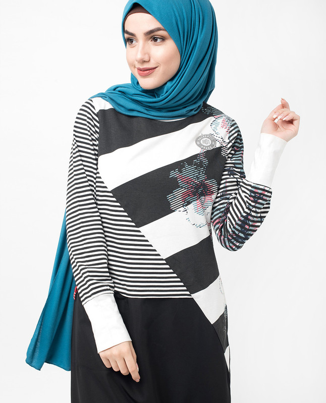 Black and White Floral Block Print Jilbab
