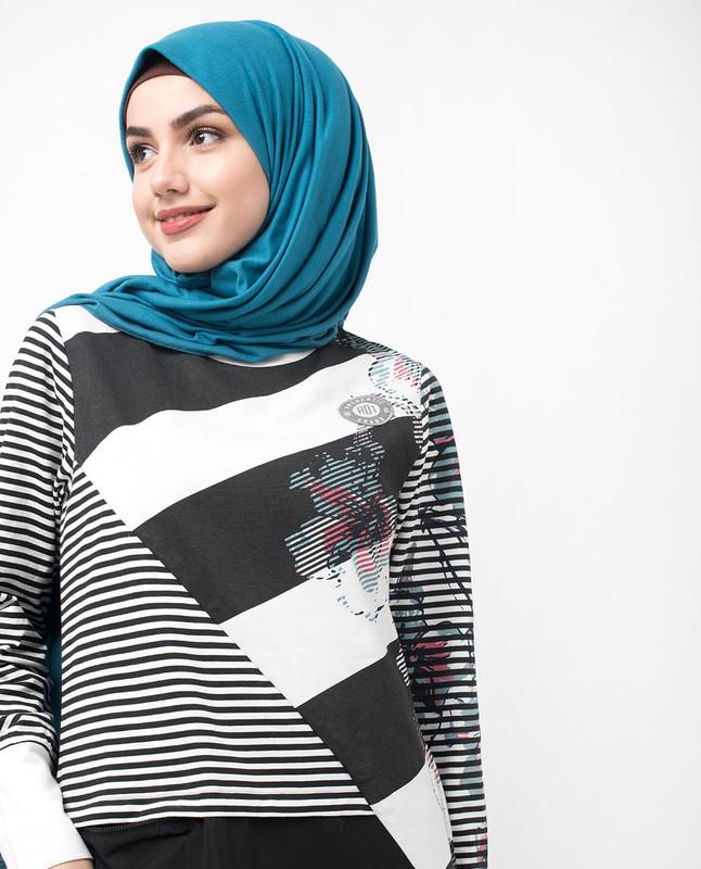 Black and White Floral Block Print Jilbab