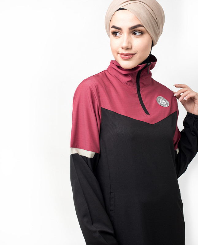 High Zip Neck Black and Burgundy Jilbab