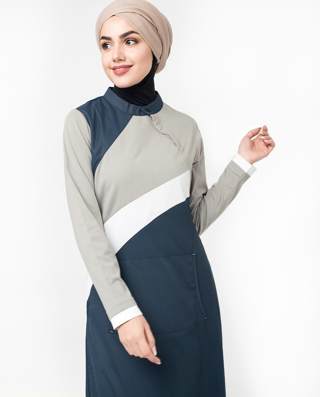 Colour Block Teal Grey Kangaroo Jilbab
