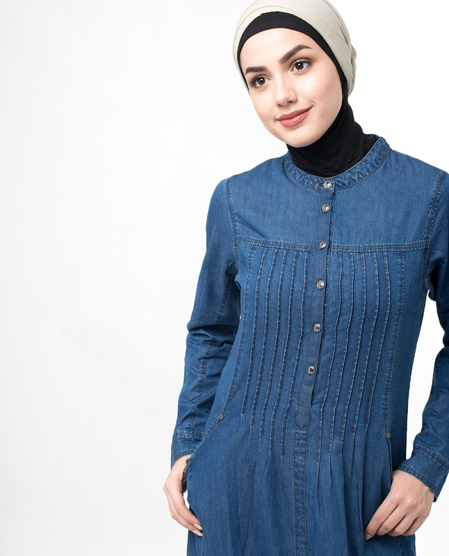 Soft Fine Denim Pleat Maxi Jilbab