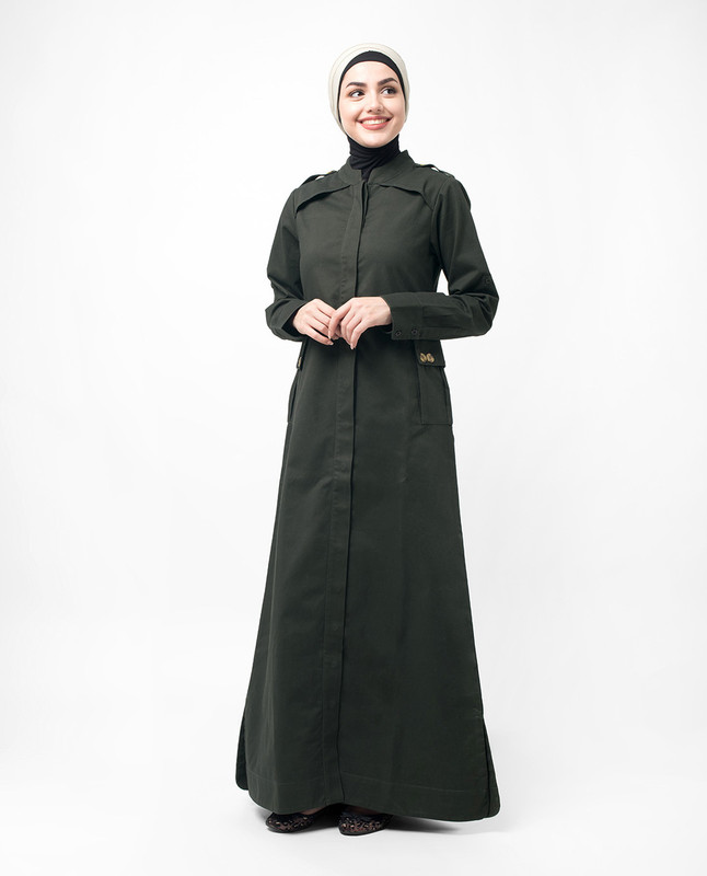 Button Down Military Olive Urban Jilbab