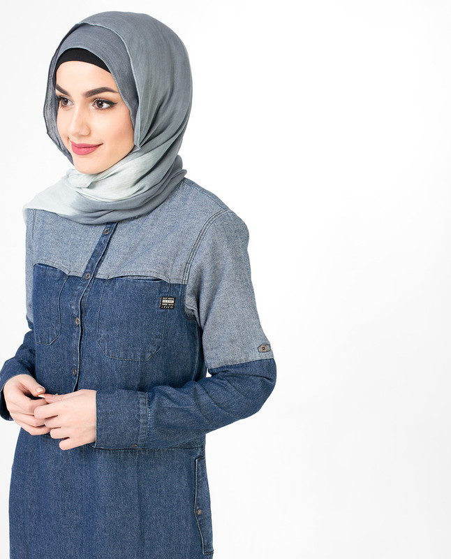 Reverse Denim Blue Jilbab