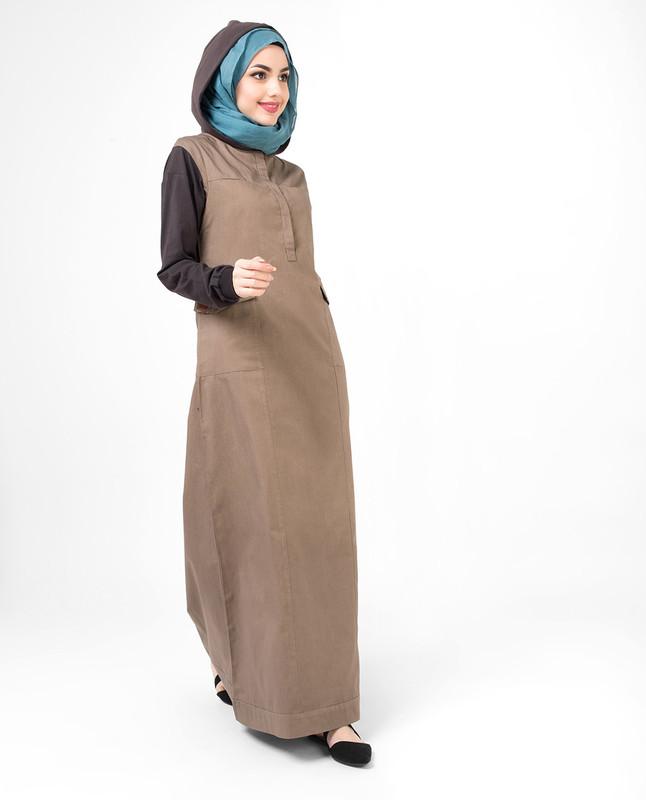 Utility Brown hooded Jilbab