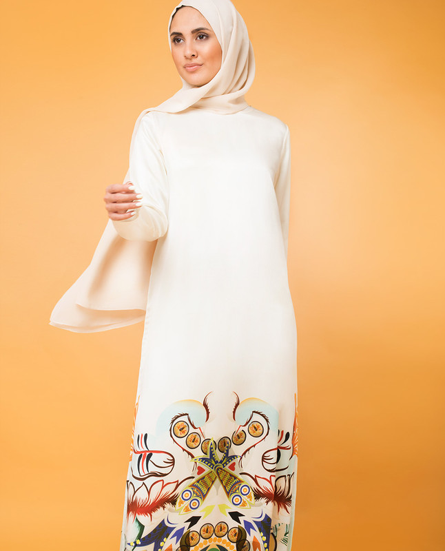 Modest Silk Print Rickshaw Dress