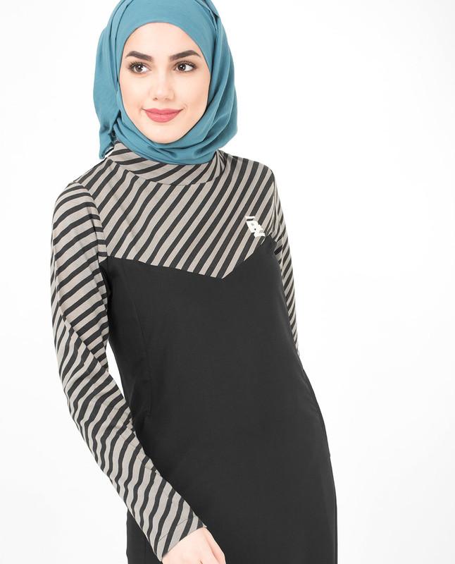 Black and Grey Striper Jilbab