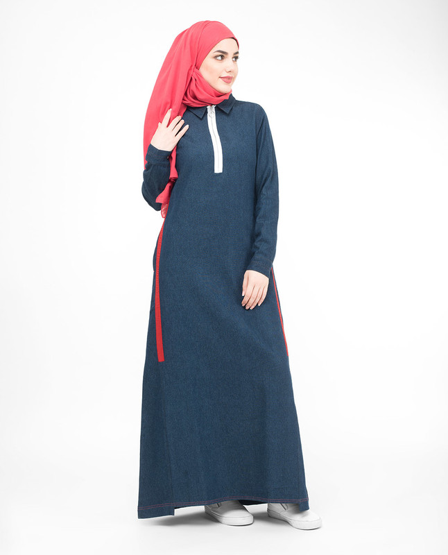 Subtle Denim Detail Jilbab