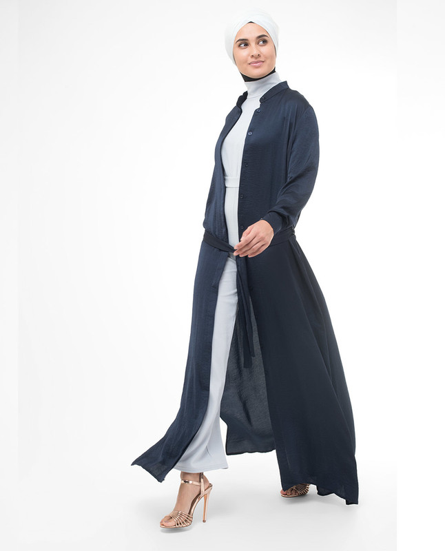 Full Button Navy Modest Shirt Dress