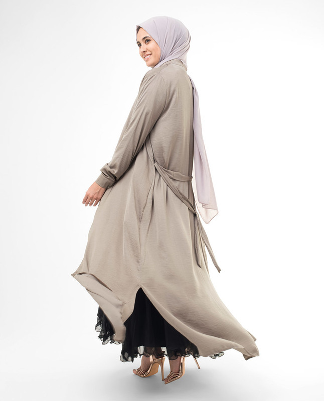 Full Button Beige Modest Shirt Dress