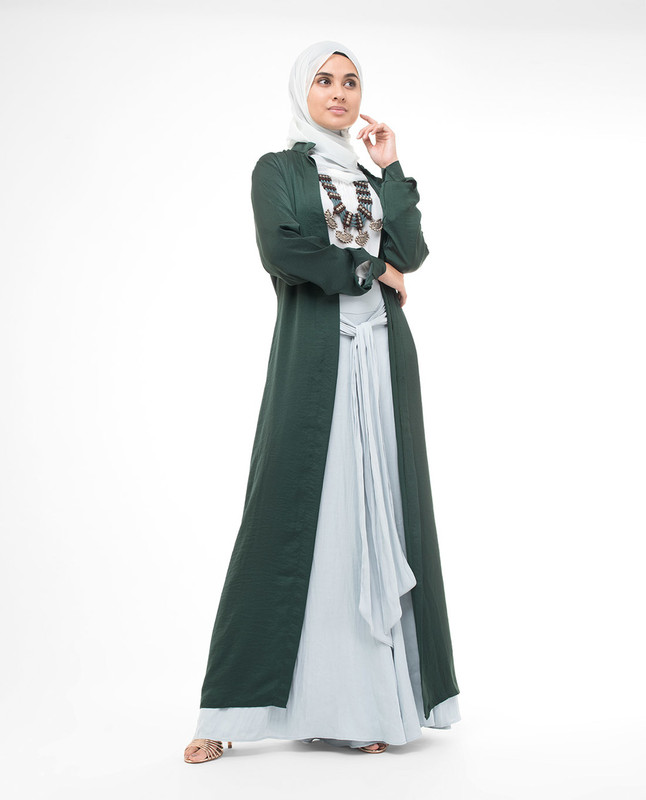 Full Button Green Modest Shirt Dress