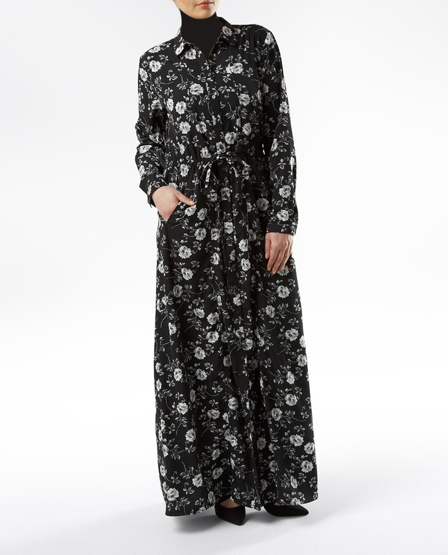 Lara Black Floral Shirt Dress