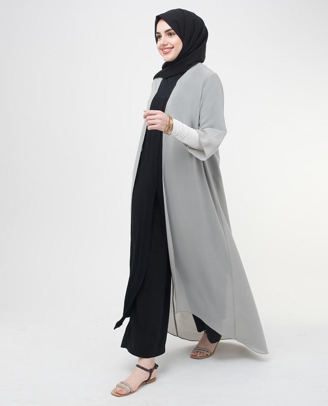 Long Sheer Ash Grey Kimono