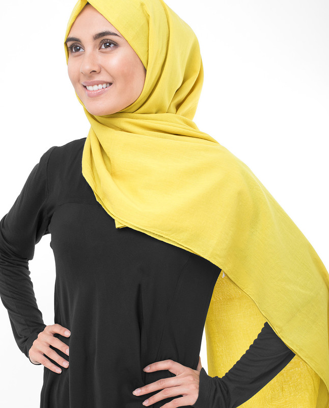 Cellery Yellow Cotton Voile Scarf