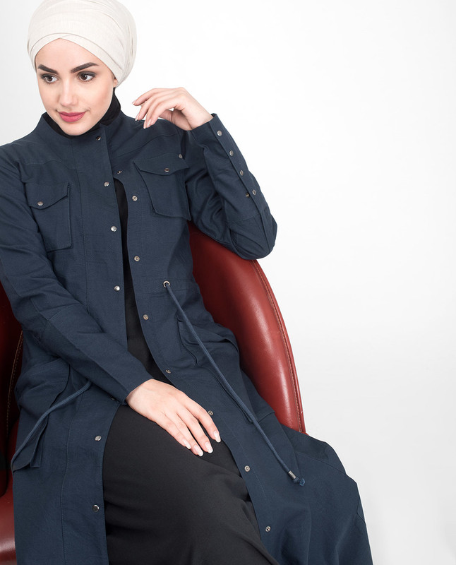 Fully Buttoned Front Open Navy Jilbab