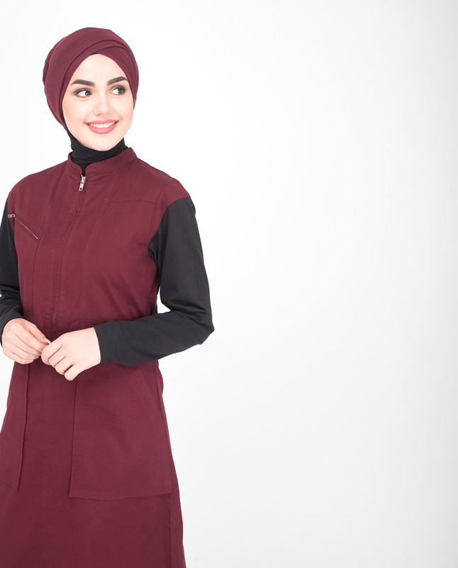 Red & Black Utility Jilbab