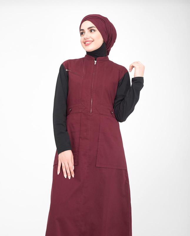 Red and black jilbab abaya