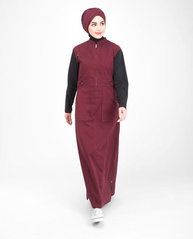 Front zip red jilbab abaya