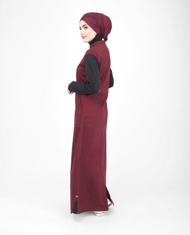 Red and black cotton jilbab abaya