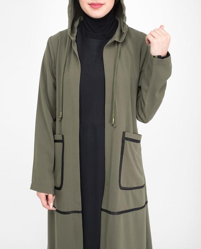 Summer olive green outerwear abaya jilbab