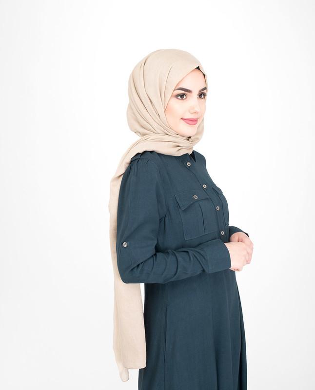 Blue flared abaya jilbab