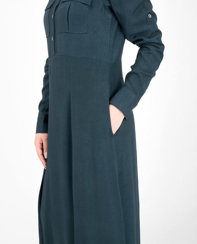 Chest pockets blue jilbab abaya